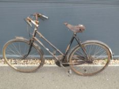 4032 Vintage Step Through bike in black with Brookes saddle