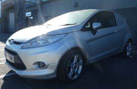 EF59 RM XFord Fiesta Sport TDCI 90 DFD car derived van in silver, 1560cc diesel, first registered