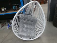 White wicker effect garden suspended egg chair with grey cushion