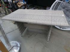 Rectangular rattan effect garden table in grey