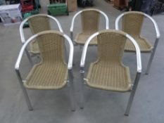 6 aluminium framed stacking chairs with rattan seating