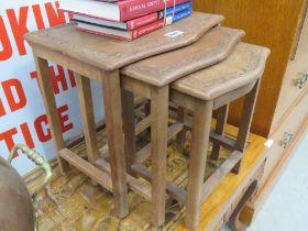 Nest of 3 teak tables