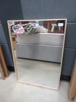 Rectangular mirror in natural wood frame