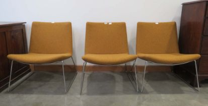 3 Mustard fabric swoosh low back wire chrome connection chairs