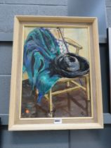 Oil on board of still life with clothing and chair