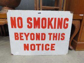 Enamelled 'No Smoking' sign