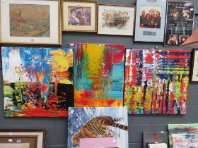 3 modern abstract oil paintings