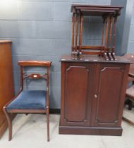 Victorian mahogany double door cupboard, nest of three mahogany tables plus a Victorian dining chair