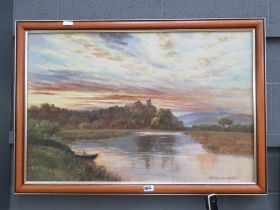 Modern oil on canvas of lake with rowing boat with derelict castle in background