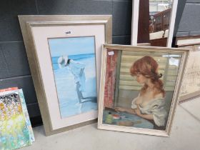 2 prints of lady at dressing table plus lady at the beach