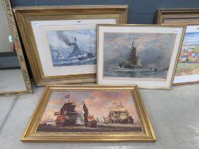 3 maritime prints of gun boats and sailing ships at sea