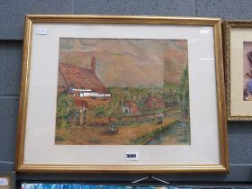 Naive watercolour of cottages and stream