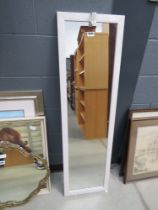 Narrow mirror in white painted frame