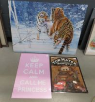 Print of fighting tigers, keep calm wall hanging plus a towmater cars wall hanging