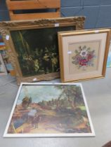 Constable print of flat feathered mule, wall tapestry with flowers and a print of the night watch