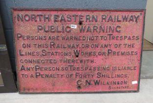 Cast iron north eastern railway public warning sign
