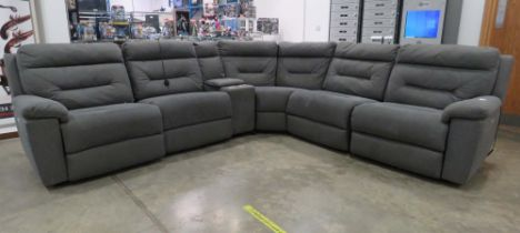 Grey suede effect corner suite in 6 sections