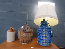(78 & 92) Table lamp with painted rattan base plus a two tone flagon