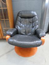 Black leather effect stress less style armchair