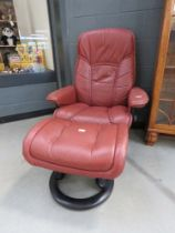Maroon leather effect stress less style armchair with footstool