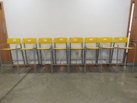 Set of 8 1960/70's powder coated bar stools with yellow seats and backs