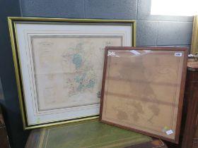 2 vintage maps of Cambridgeshire