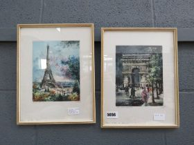 2 vintage lithographs with watercolour highlights