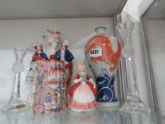 Staffordshire flat back figure, modern Chinese vase, Oriental teapot, Royal Doulton figure of a girl