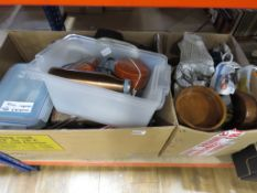 3 boxes containing a carved wooden box, silver plated teapot, kitchenware and treen
