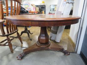 Victorian mahogany tilt top supper table on claw feet