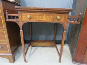 Edwardian rosewood and marquetry writing table with a folding top