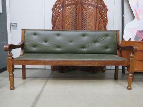 Green vinyl refectory style bench