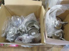 2 boxes containing pewterware to include teapots, hot water jugs, coasters, bowls, cruet set and