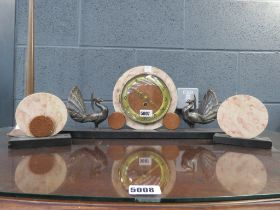 (4) - Art deco style clock and garnitures