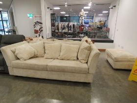 Pair of cream upholstered knoll sofas with drop ends