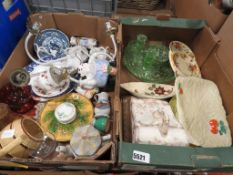 2 boxes containing Beswick and other china, cheese dish, green glass dressing table tidy, ornamental