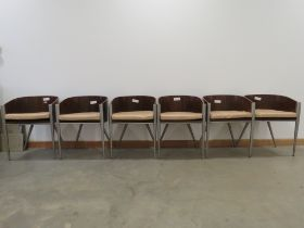 Set of 6 contemporary bent wood and aluminium bistro chairs