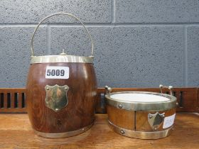 Two oak biscuit barrels with silver plated mounts