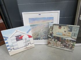 Contemporary oil on board by T Hoffman of a beach together with two prints on canvas