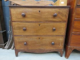 Mahogany and strung chest of three drawers