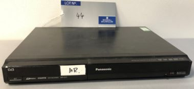 A Panasonic DMR-EZ27 DVD Recorder with remote controller (powers up).
