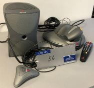 A Polycom VSX700 Video Conferencing System with Subwoofer, Camera, Speaker and Remote Controller (