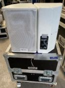 A Pair of NEXO PS8UPW Monitor Speakers in white with pole mount and mobile flight case (in working