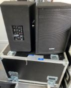 2 SubZero 350w 12in Active PA Speakers with pole mount and mobile flight case (in working order).