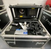 A Barco RLM W12 DLP Projector with Flying/Stacking Frame, Remote Control and mobile flight case (
