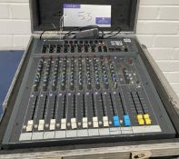 A Soundcraft Spirit F1 Sound Mixing Desk with power supply unit and flight case (in working order).