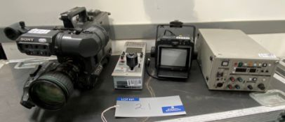 A Sony DXC-D55WSP SD Camera Channel with Canon BCTV Zoom Lens, Camera Control Unit, Remote Control