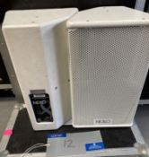 A Pair of NEXO PS8UPW Monitor Speakers in white with pole mount and flight case (in working order).
