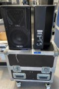 A Pair of NEXO PS8U Monitor Speakers in black with pole mount and mobile flight case (in working
