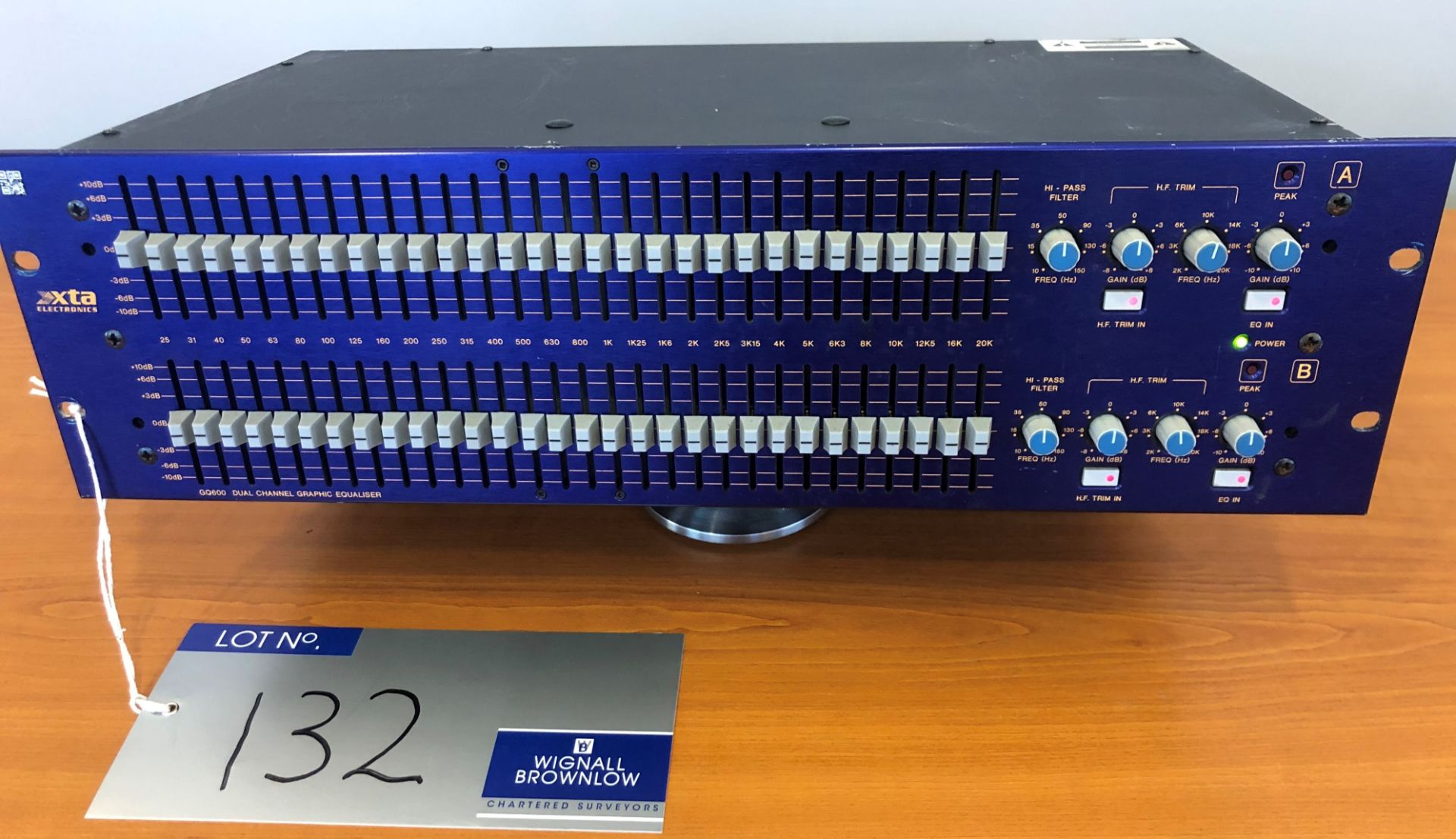 An xta Electronics GQ600 Dual Channel Graphic Equaliser, tested-located at Chaps Productions, 33